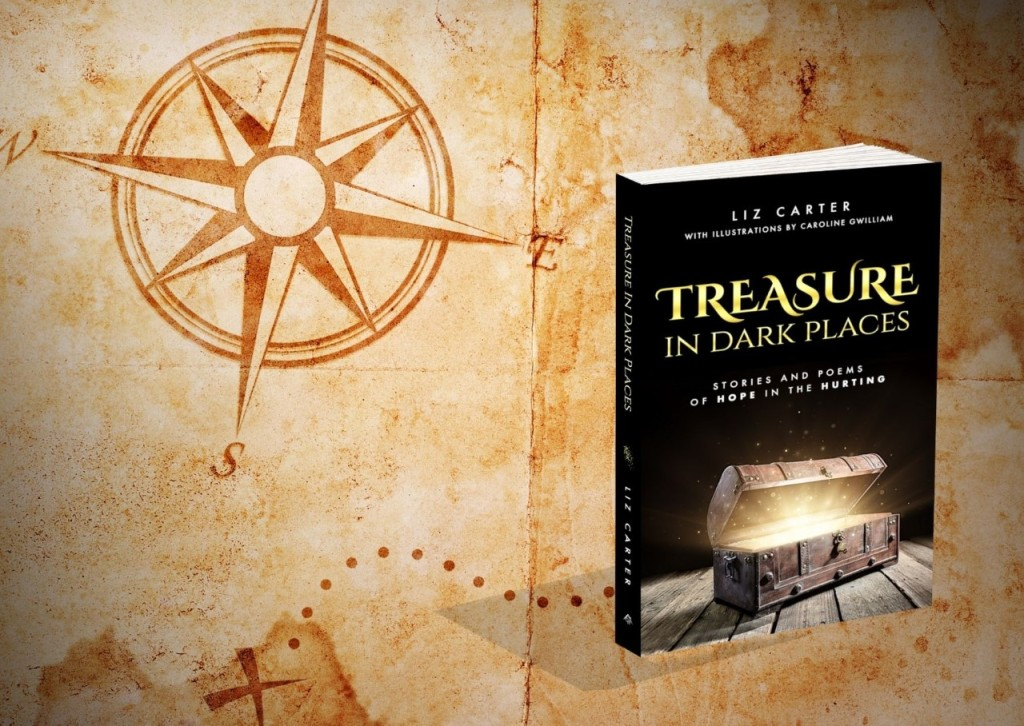 Treasure in Dark Places book shown against a background of a treasure map with a compass.
